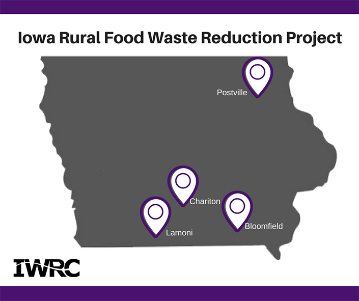 Map with four Iowa communities participating in project
